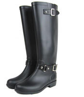 Wholesale Riding Boots For Women - High Riding boots Black Cool Pvc Rain Boots For Women ,Buckle style Motorcycle Boots US6#,7#,8#,9#,10#,11#