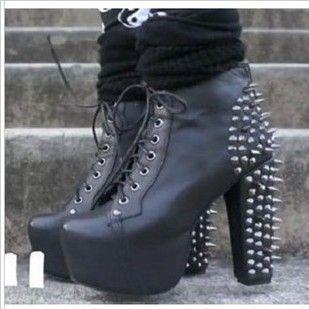 Cheap Platform Pumps Boot Star Style Rivet Heel Bootsplatform High ... 0df717bcf0