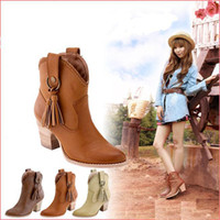 Wholesale Tassel Ankle Boots For Women - 2015 new ankle boots fashion sexy tassel women leather autumn boots cowboy boots winter boots for shoes woman