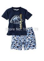 Wholesale Dinosaur Boy T Shirt - Wholesale-Baby kids Summer Fall Beach suit Boys Dinosaur T-Shirt Pants Shorts Outfit Sets