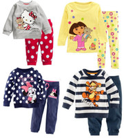 Wholesale New Suits For Boys - Wholesale-hot sale new clothes girls baby kids children clothing sets suits pajamas for boys 2 piece sleepwear home fashion 2-7y