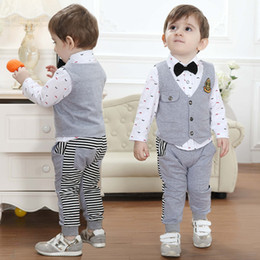 Wholesale Baby Boys Long Sleeve Vest - Wholesale-spring autumn Children's clothing sets Baby Boy's suit custome Kids gentleman suit child long sleeve shirt + vest+