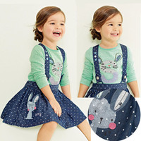 Wholesale Next Dresses Girl - Wholesale-British Style baby girl strap dress,cotton casual denim dress,next* clothing style slip dress with cute rabbit embroidery