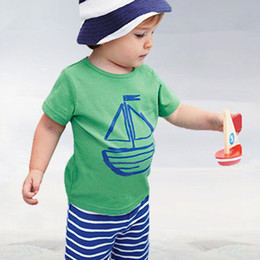 Wholesale Boat Fishing Set - Wholesale-Summer fashion Baby Boy's clothing set children's set for summer hot-selling Boat   fish printing T-shirts+casual striped