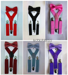 Wholesale Suspender Bow Tie - Suspender and Bow Tie Sets Matching Colors for Boys Girls Kids Free Shipping