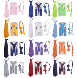 Wholesale Wholesale Beaded Ties - 2.5cm*6cm Boys Girls Y Shape Plain Color Adjustable Elastic Suspenders + Bow Tie + NeckTie