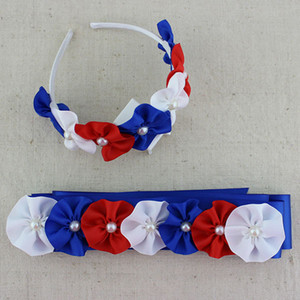 Wholesale 2 set Independence Day sash amp Headband th of july hairband satin flower headband set blue red white flower headband