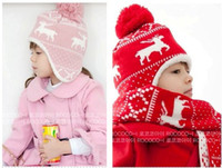 Wholesale Knitting Cap Patterns For Kids - (1Set =1 Cap+ 1 Scarf ) Child winter Cap scarf set Kids Snow Pattern knitted Cap with Earflap Warm hat For 3-8Years baby H39
