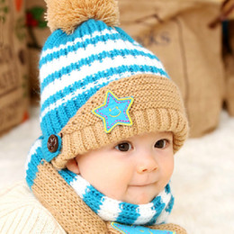 Wholesale Ear Protector Hats Scarfs - New Fashion Winter Smile Five Star Baby Hats Scarf Sets Kids Beanie Child Scarf Ear Protector Caps For baby 5-36 Months