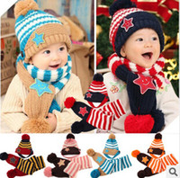 Wholesale Kids Knitted Hats Set - 2015 New Winter 5-Star Children Skullies & Beanies Scarf Hat Set Baby Boys Girls Knitted kids Hats & Caps