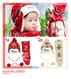 Wholesale Knitting Hat Pattern For Children - (1Set =1 Cap+ 1 Scarf ) Child winter Cap scarf set Kids Snow Pattern knitted Cap with Earflap Warm hat For 1-5 Years baby