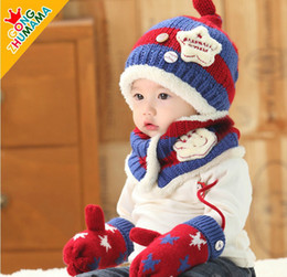 Wholesale Baby Snow Gloves - Factory Outlet baby girls boys winter hat sets kids scarf +gloves +hat 3pcs set baby winter star ear protector snow caps