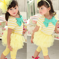 Wholesale Skirt Legging Shirt - New Girls Stripe Bow Tops T Shirt + Tutu Skirt Legging Tights Outfits 2pcs Free&Drop Shipping