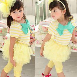 Legging apretado online-Nueva Girls Stripe Bow Tops T shirt + Tutu Skirt Legging Tights Outfits 2pcs FreeDrop Envío