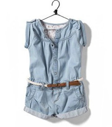 Wholesale Short Overalls For Baby Girls - New 2015 Summer Fashion baby & kids Clothing Set Casual Child Denim Suit Overalls Short Jeans Onepiece Jumpsuit Girls,for 2-8Y