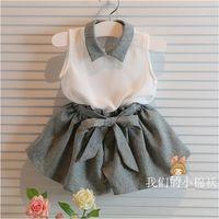 Wholesale Chiffon Girls Pants - 2015 Fashion baby girls summer clothes set 2 pcs White chiffon collar blouse shirt + gray short pants set Free shipping