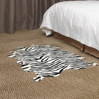 Free Shipping Animal Print Area Rug 75X120CM Zebra FUR Blanket Bedroom Rug  Floor Mat Livingroom Carpet Bathroom Rug from