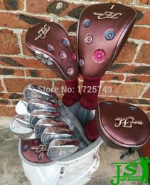 Wholesale Golf Graphite Putter Shaft - Wholesale-12PCS man FL Set Women Golf Clubs Driver + Fairways + Irons + Putter +Bag Graphite Shaft L-Flex With Head Cover