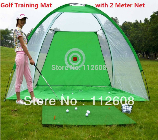 top popular Golf Training Cages practice net Training Aid with Free 30*60cm Golf Chipping Driving Practice Mat 2019