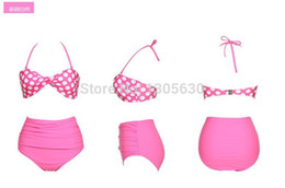 Wholesale Belly Swimsuit - Newest brand women bikini swimsuit sexy cover belly series retro High waist bikini swimsuit women's swimsuit Free shipping