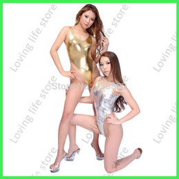 Wholesale Cheap Leather Suits - High Quality 2015 NEW Bathing suit faux leather one piece swimsuit,Cheap one piece Swimwear 5colors Swimwear sex lingerie