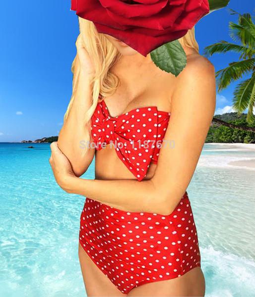 2015 trajes de baño para mujer RETRO Dot Sexy Women Swimwear Vintage Push Up Bandeau ALTO EN LA CINTURA Bikinis de impresión Set S - XL