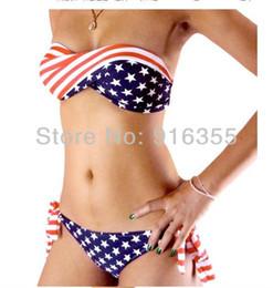 Wholesale Sexy Junior Bras - Free shipping american flag cute dress juniors plus size bra swimwear split swimsuit sexy tops retro swimsuits one piece women
