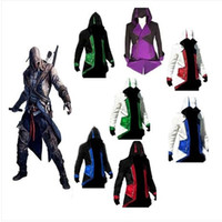 Wholesale Woman Assassin S Creed Costumes - Fashion Assassins Creed 3 Cosplay Hoodies Plus Size Jacket Cosplay Costume Customizable Casual Costume for Men Women Cap Cloak
