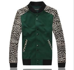 Wholesale Letterman Jacket Hoodie - Free Shipping Letterman Jackets For Men Hip Hop Mens Leopard Print Clothing Men's Sweatshirt Hoodies slim fit Coat outerwear