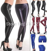 Wholesale Tight Hot Low Cut - 2015 Hot Sale Jeggings NEW Women Black Leggins Tight Leather Looking Soft Stretch Sexy Pants S M L Sexy Lady Trousers Wholesale