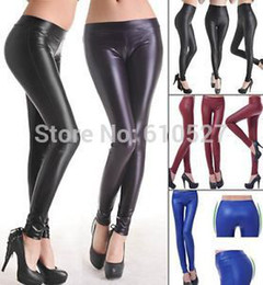 Wholesale New Look Leather Pants - 2015 Hot Sale Jeggings NEW Women Black Leggins Tight Leather Looking Soft Stretch Sexy Pants S M L Sexy Lady Trousers Wholesale