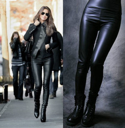 Wholesale Womens Waist Pants - High Waisted Womens Faux Leather Stretch Skinny Pants Leggings 6 colors one size free Free shipping