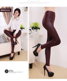 Wholesale Super Slim Waist - Free shipping 2015 Winter Leggings For Women Thickening Velvet Super Warm Pants Imitation Leather PU Slim Stretch Leggings L XL