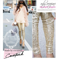 Wholesale Black Sequin Leggings L - 2015 new Arrival Women gold sequins leggings pants big yards entire Europe and America fashion Slim was thin pants