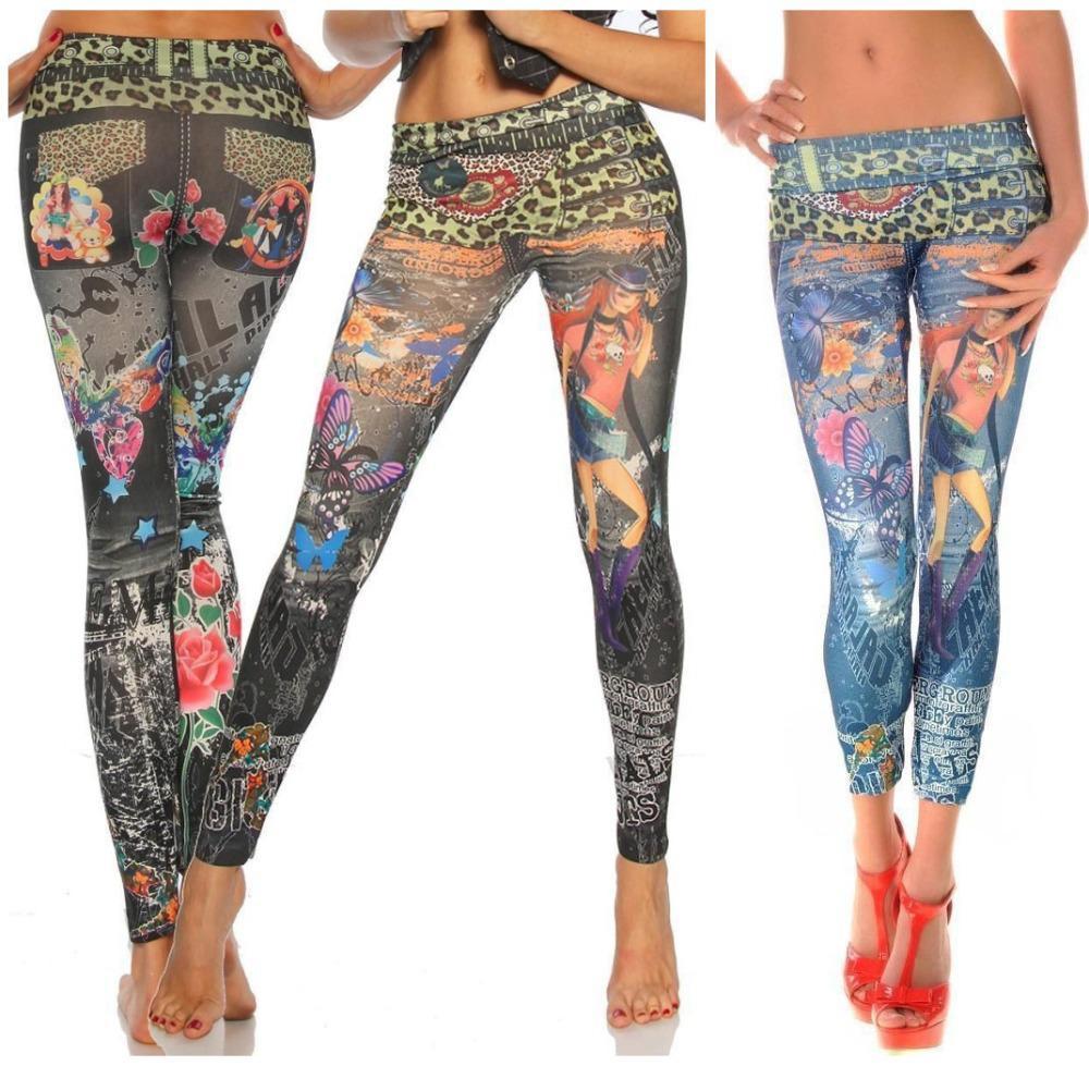 Grosshandel L 343 Neue Tattoo Leopard Print Faux Jeans Jegging Hohe