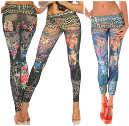 Wholesale Leopard Jeans For Women - L-343 New Tattoo Leopard Print Faux Jeans Jegging High Elasticity Fashion Women's Pants Thin Skinny Leggings For Spring Autumn