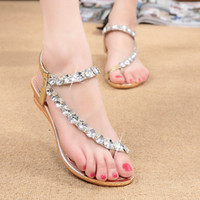 Wholesale Women C Thong - 2016 gladiator sandals slippers women fashion flat sandals comfort rhinestone thong flip flops flats sandals free shipping c557