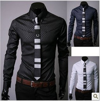 Wholesale Cheapest Slim Fit Dress Shirts - 2015 Free shipping cheapest new men's business shirts,casual slim fit stylish dress shirts Size:M-XXXL 5912
