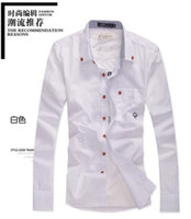 Wholesale Decorated Collar Shirt - New Men's Slim Fit Shirts Stripe Collar Embroidery Decorated Wooden Button Shirt