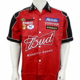 Wholesale Red Overall Shorts - NEW 2015 TOP quality men f1 racing suit Car overalls Work clothes budweiser smock motorcycle Short sleeve racing shirt Free Ship