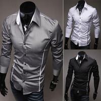 Wholesale Unique Fashion Clothes - Mens Casual Slim Fit Dress Formal Shirts Unique Neckline Long sleeve Shirt 2015 clothing fashion 3 Colors Size XXS XS S M L