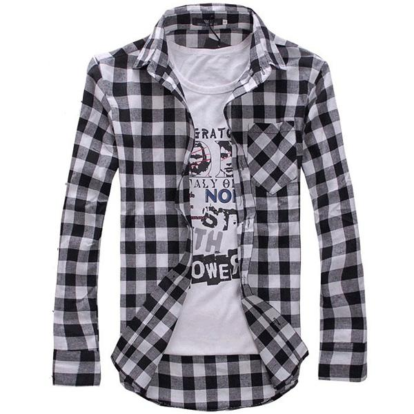 2017 2015 Men'S Shirts Collar Plaid Check Shirt Long Sleeve Slim ...