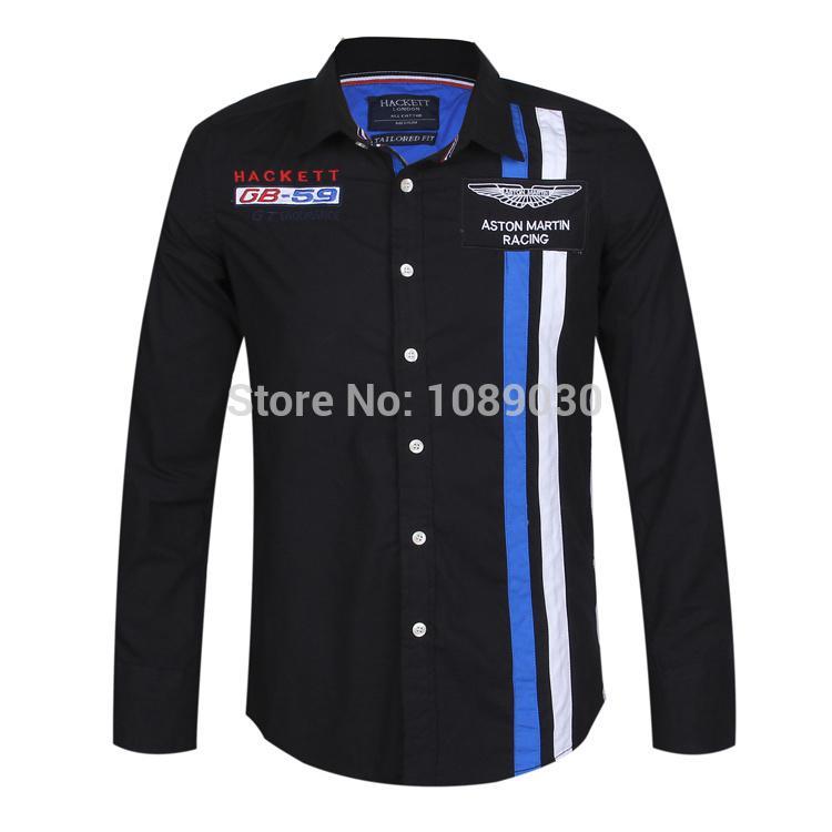 2017 100% Cotton Hacket Shirt Mens Dress Shirt Brand Long Sleeve ...