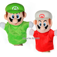 Wholesale Mario Puppets - Wholesale-1 pcs lot, New Super Mario Bros. Stand MARIO & LUIGI Plush Doll Stuffed Toy Wholesale Baby Hand Puppets kids gift