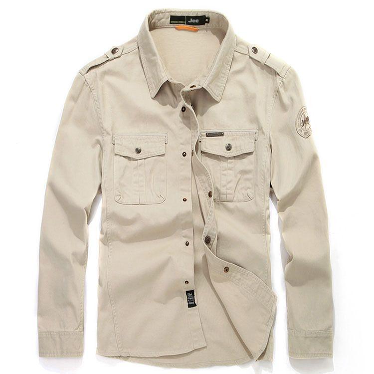 2e2da6a38511 2019 M 5XL 2015 Casual Men Shirts Long Sleeve Double Pocket Badge Brand  Army Shirts Army Mens Shirts Fashion Camisa Social Masculina From Berniee
