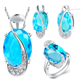 Wholesale Blue Jade Rings - Wholesale-Wedding Bridal Jewelry Sets 925 Sterling Silver Crystal Necklace Earrings Ring Jewelry Set Mystic Topaz 20% off Ulove T155