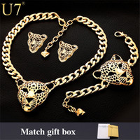 Cool Leopard Head Bracelet Bracelet Necklace Set para mulheres / homens New Trendy 18K Real Gold Plated Costume African Jewelry Sets S365