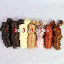 Wholesale Bjd Wig Brown - 7 pieces lot wholesales 15cm*100CM curl brown falxen golden black wig hair for 1 3 1 4 BJD diy
