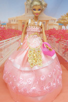 Wholesale Dress Minimum Order - Gold sequins Handmade Party Doll's Dress Clothes Gown For Barbie best baby christmas gift X50 (Mix minimum order $10)