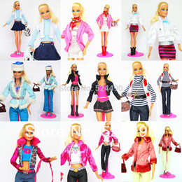 Wholesale Unique Toy Dolls For Girls - 5 Sets Outfit Unique Design Handmade Doll Dresses Clothing Suit Coat Pants Accessories For Kurhn Barbie Doll Children Kids Gift